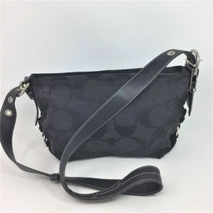 Coach Black Bag Signature Print Shoulder Strap